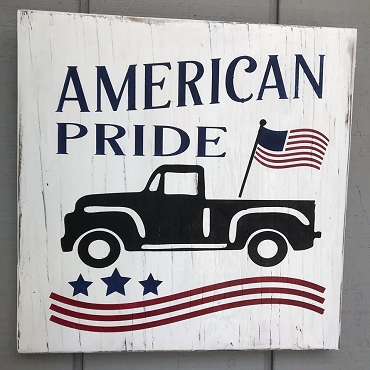 American Pride Flag and Truck Patriotic Sign