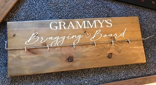 Wood Grandma Bragging Board with Jute