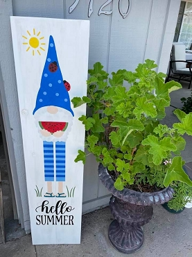 Summer Wood Large Gnome Sign with Watermelon and Ladybugs-Local Pickup Only