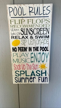 Pool Rules Summer Wall Art