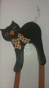 Halloween Wood Black Cat Decor