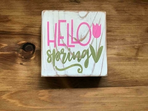 Hello Spring Inspire Wood Shelf Sitter
