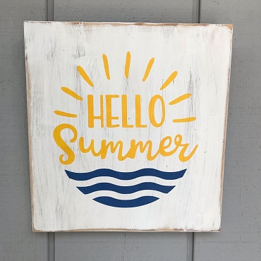 Hello Summer Wall Hanging Wood Sign