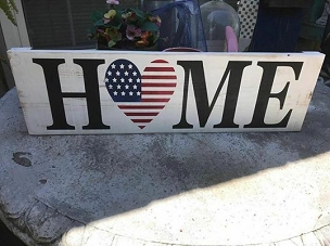 America Home Heart Wall Decor Sign