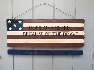 Home of the Free Because of the Brave Patriotic Decor