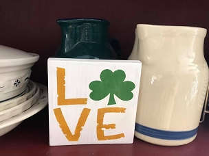 St Patricks Day Wood Sign Love with Shamrock