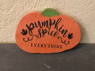 Wood Pumpkin with Hand Painted Saying Pumpkin Spice