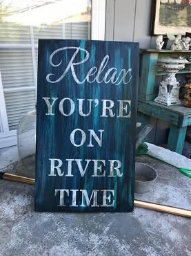 Relax You're on River Time Wood Wall Art Home Décor