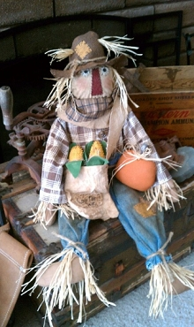 36 Inch Tall Fabric Scarecrow with Corn and Pumpkin