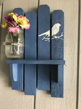 Wood Slat Shelf with attached Mason Jar