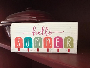 Hello Summer Ice Cream Home Decor Wood Shelf Sitter