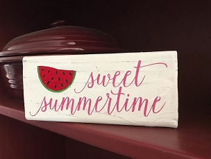 Sweet Summertime Watermelon Wood Home Decor Shelf Sitter