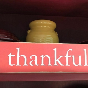 Thankful Wood Shelf Sitter