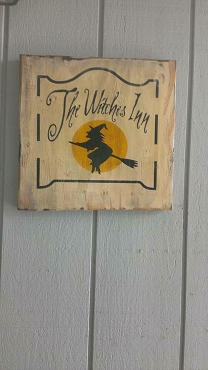 The Witch Inn Wood Sign