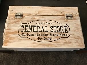 Wooden Storage Box with General Store Hardware Dry Goods