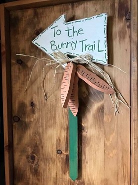 Bunny Trail Outdoor Wood Sign with attached Wood Carrots