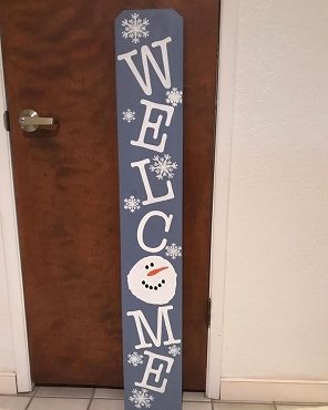 Welcome Snowman Wood Sign Local Pick up Only