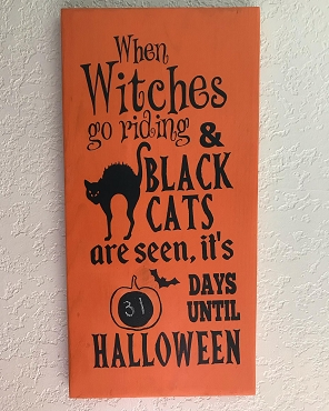 Halloween Countdown Days Wood Sign with Chalkboard