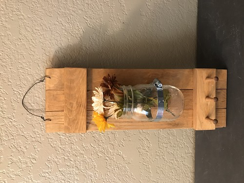 Wood Home Decor attached Mason Jar 3 Wood Pegs