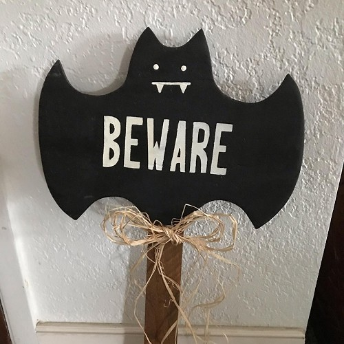 Halloween Wood Bat Stake Home Decor