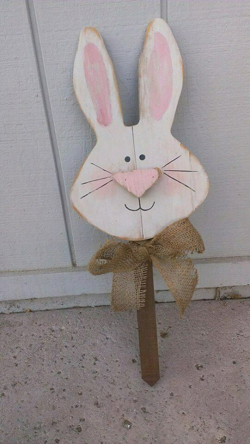 Spring Bunny Head Wood Decor
