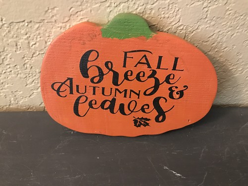 Pumpkin Wood Sign with Hand Painted Saying Fall Breeze