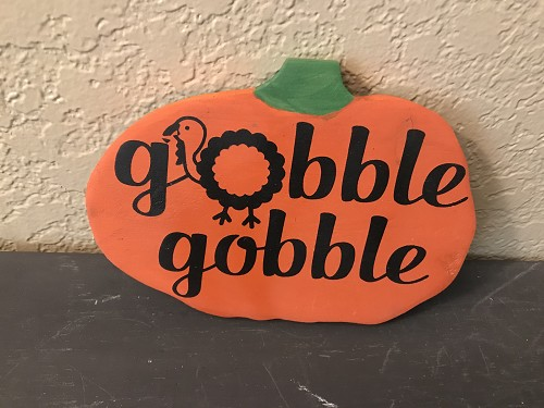 Wood Pumpkin with Hand Painted Saying Gobble Gobble