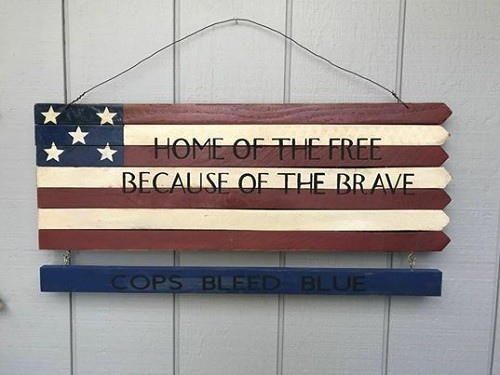 Home of the Free Because of the Brave Flag Wall Art Decor